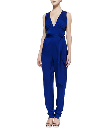 Deep V-Neck Stretch-Silk Jumpsuit