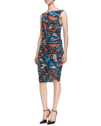 Printed Sleeveless Ruched Jersey Dress