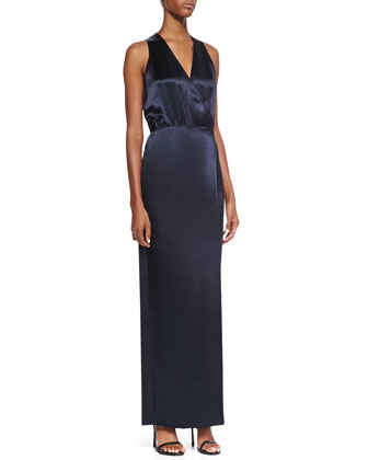 Sleeveless Faux-Wrap Dress, Navy