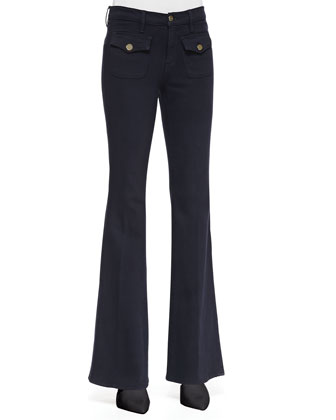 Le High Flare Flap-Pocket Jeans, Deep Blue