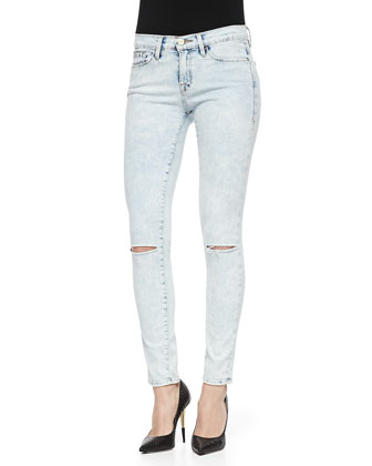 Le Skinny De Jeanne Light Distressed Jeans, Silverlake
