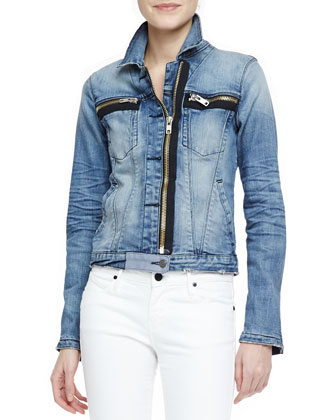 Faded Denim Zip-Detail Jacket