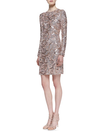 Embroidered Sequin Long-Sleeve Cocktail Dress