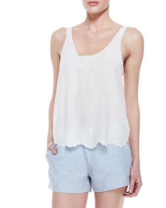 Boyd Silk Embroidered Tank Top