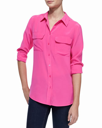 Slim Signature Silk Shirt, Magenta
