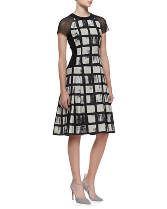 Check-Pattern Short-Sleeve Dress