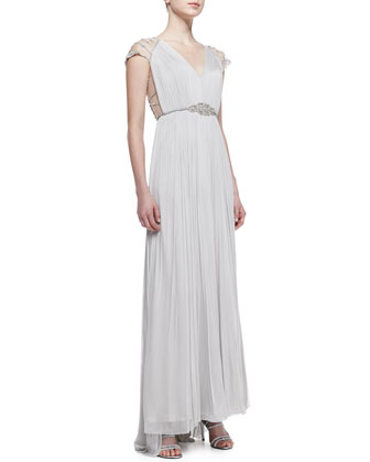 Jewel-Belted Silk Lace-Sleeve Gown
