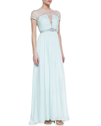 Short Sleeve Lace Bodice Gown, Whisper Green