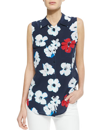 Slim Signature Sleeveless Floral-Print Blouse