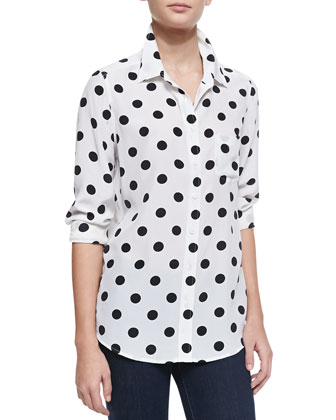 Brett Polka-Dot Long-Sleeve Top