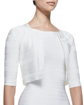 3/4-Sleeve Textured Jacket & Boat-Neck Bandage Dress, Alabaster