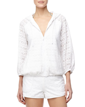 Encintas Hooded Eyelet Zip Pool Coverup Jacket