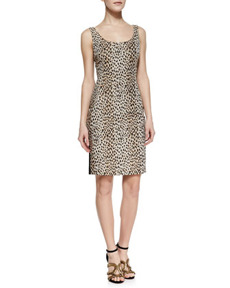 Arianna Cheetah Print Front Dress, Carmel/Pearl/Black