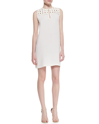 Hope Basketweave-Yoke Sleeveless Dress