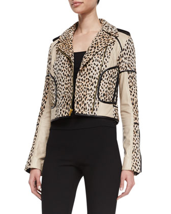 Theodora Cheetah Jacket with Trim, Carmel/Pearl Black