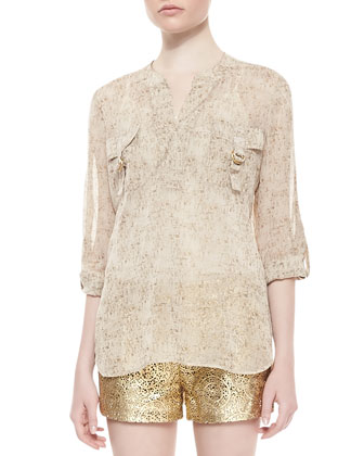 Danielle Long-Sleeve Flap Pocket Top & Naples Laser Cut Leather Shorts