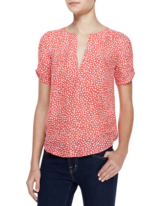 Amone Heart-Print Short-Sleeve Blouse