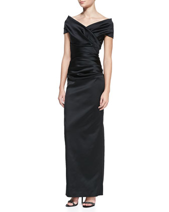 Off-the-Shoulder Ruched Gown, Black