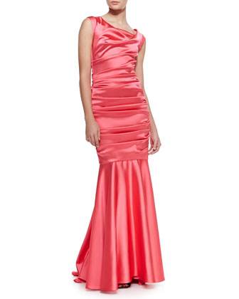 Donde Satin Cap-Sleeve Mermaid Gown