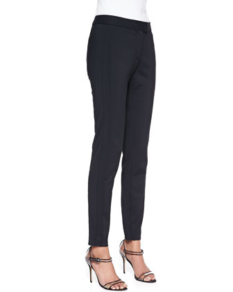 Scuba Moto Peplum Top and Slim Zip Trousers