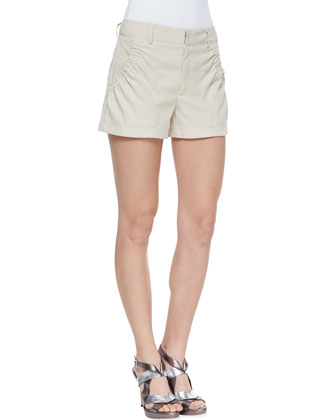 Lovie Dovie Gathered Twill Shorts
