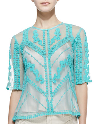 Imagination Embroidered Sheer Top