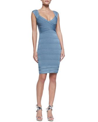 Sarai Scallop-Trim Bandage Dress