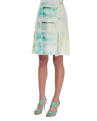 Silk Wrap Panel Step Skirt