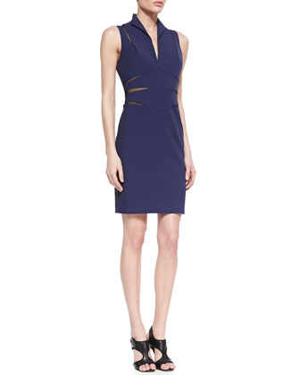 Open-Back Mesh Cutout Cocktail Dress