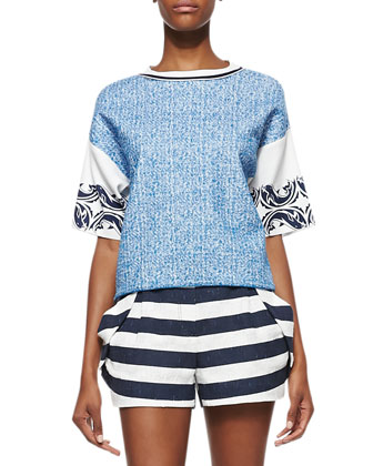 Printed Colorblock Knit Top
