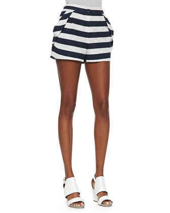 Striped Pleat-Pocket Shorts