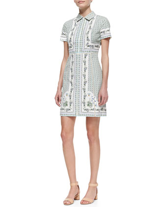 Talia Floral-Print Point-Collar Shirtdress
