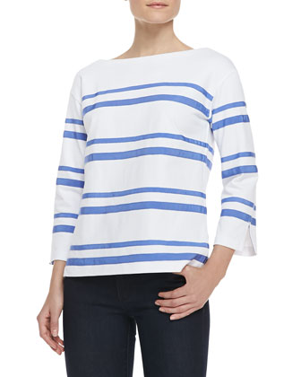Kendall Cotton Ribbon-Stripe Top