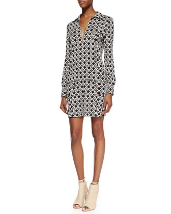 Dilly Long Sleeve Wicker Print Shirt Dress, Black/Caning Mocha
