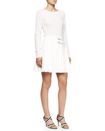 Long-Sleeve Dress with Wool Knit Top and Suede Skirt, Creme