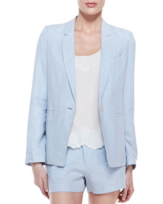 Mehira B Linen One-Button Blazer