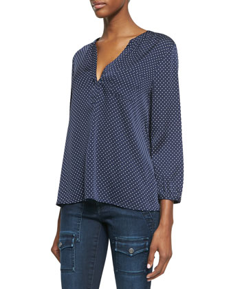 Jaffar Silk Polka-Dot Blouse