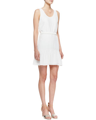 Ori Ruffle-Hem Sleeveless Dress