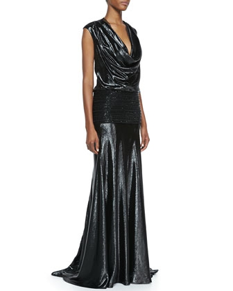 Cap-Sleeve Beaded Band Gown, Black