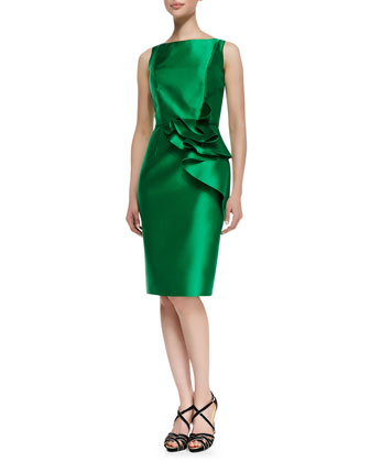 Sleeveless Ruffle Waist Cocktail Dress, Kelly Green
