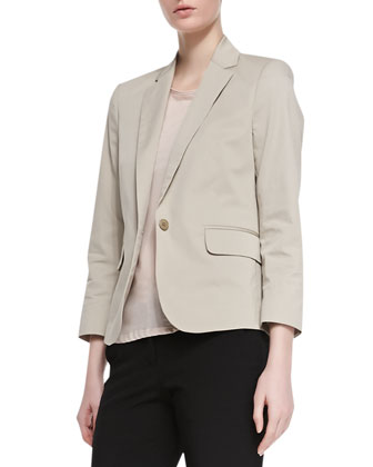 Fine Twill Button Blazer, Boat-Neck Everyday Tee & Slim Stretch-Wool Pants