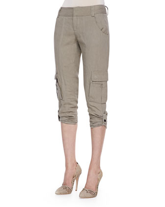 Narrow Tab-Cuff Cargo Pants