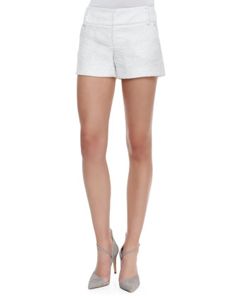 Cady Tweed No-Cuff Shorts, White