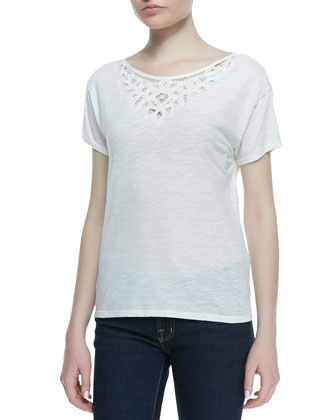 Ellidine Embroidered Short-Sleeve Top