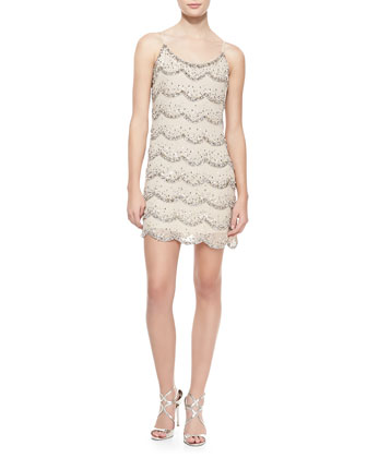 Wes Scalloped Beaded Shift Dress