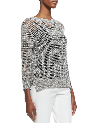 Rainee See-Through Knit Sweater & Belisa Cropped Twill Pants