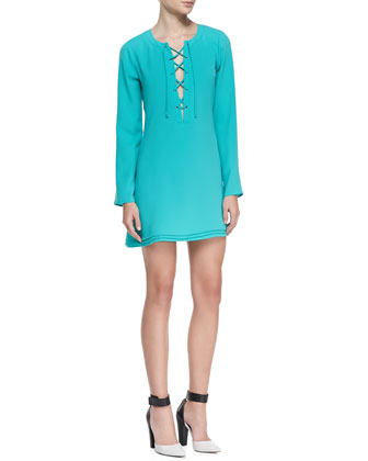 Markie Lace-Up Front Long-Sleeve Dress
