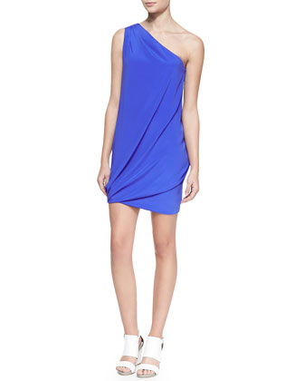 Jasmine Silk One-Shoulder Draped Dress