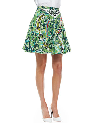 Ray Beaded Floral-Print Skirt