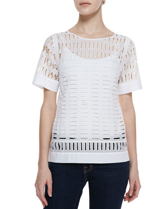 Short-Sleeve Eyelet-Front Top, White